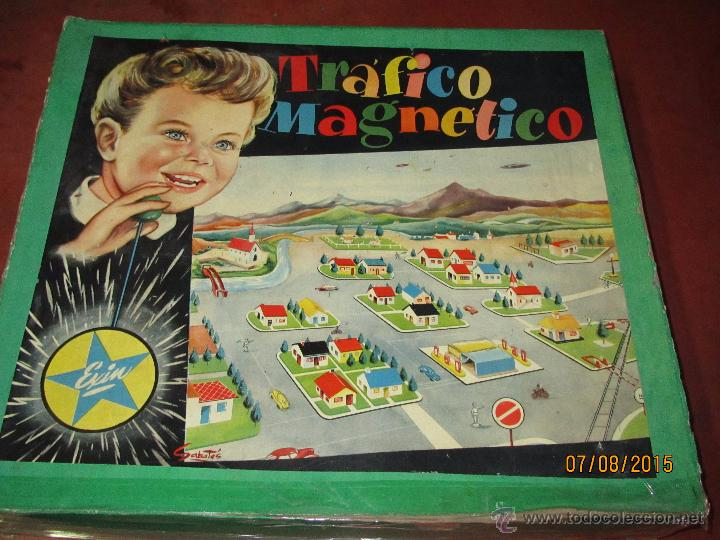 ANTIGUO JUEGO TRAFICO MAGNETICO CON CAJA DE MADERA DE EXIN - AÑO 1960S. (Juguetes - Marcas Clásicas - Exin)