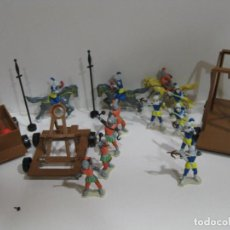 Juguetes antiguos Exin: LOTE 12 FIGURAS EXIN CASTILLO , CAÑÓN CATAPULTA CABALLEROS CABALLO SOLDADOS . Lote 103878163