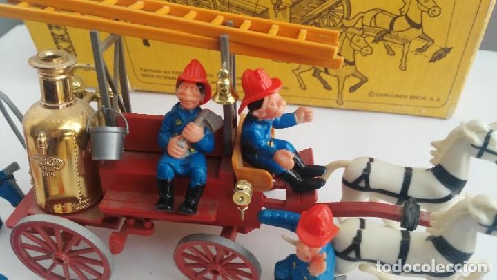 Juguetes antiguos Exin: parque de bomberos EXIN WEST EXINWEST COCHE DE BOMBEROS PERSONAJES Y MAS EN CAJA - Foto 11 - 121982847
