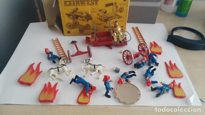 Juguetes antiguos Exin: parque de bomberos EXIN WEST EXINWEST COCHE DE BOMBEROS PERSONAJES Y MAS EN CAJA - Foto 19 - 121982847