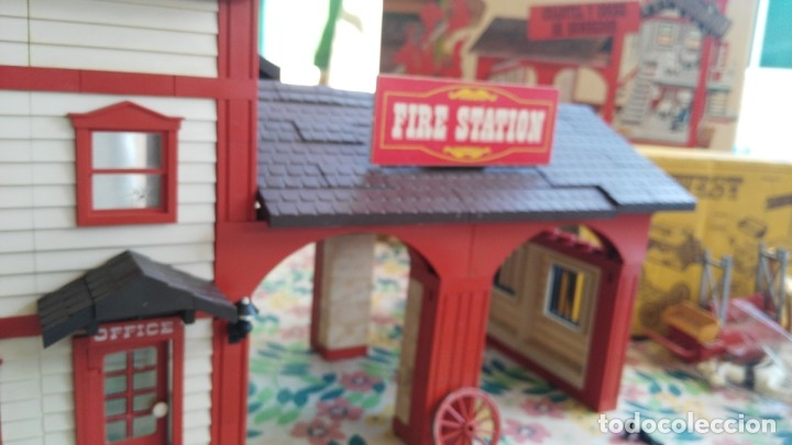 Juguetes antiguos Exin: parque de bomberos EXIN WEST EXINWEST COCHE DE BOMBEROS PERSONAJES Y MAS EN CAJA - Foto 45 - 121982847