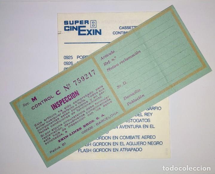 CATALOGO PELICULAS SUPER CINEXIN EXIN 8 Y HOJA INSPECCIÓN (Juguetes - Marcas Clásicas - Exin)