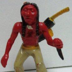 Juguetes antiguos Exin: EXIN WEST ORIGINAL FIGURA PERSONAJE OESTE, GUERRERO INDIO. Lote 156537629