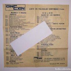 Juguetes antiguos Exin: INSTRUCCIONES BOBINA LISTADO LISTA PELICULAS PROYECTOR CINEXIN EXIN NARANJA. Lote 160427370