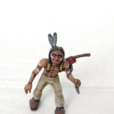 Juguetes antiguos Exin: EXIN WEST GUERRERO INDIO AVANZANDO CON CUCHILLO Y ARCO PINTADO EN ALTA CALIDAD. Lote 210391282