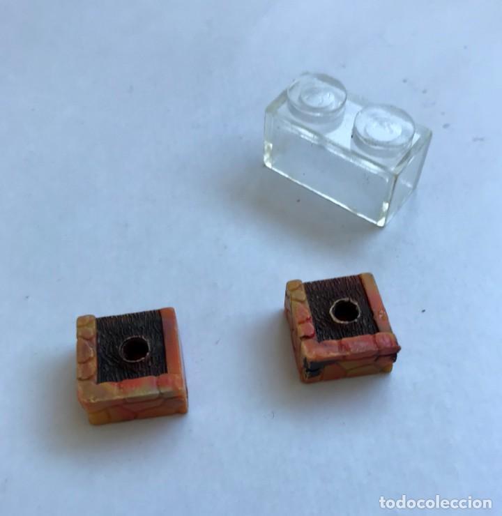 2 X MACETA / MACETERO SIMPLE + 1 PIEZA TRANSPARENTE EXIN CASTILLOS BLOCK ARQUITECTURA. AÑOS 70/80. (Juguetes - Marcas Clásicas - Exin)