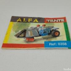 Juguetes antiguos Exin: TENTE ALFA INSTRUCCIONES. REF 0358. EXIN.. Lote 238891025