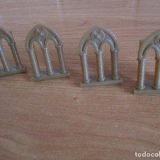 Juguetes antiguos Exin: EXIN CASTILLOS PDJ: LOTE 4 VENTANAS MARRONES DE ESTILO GOTICO. Lote 288657013