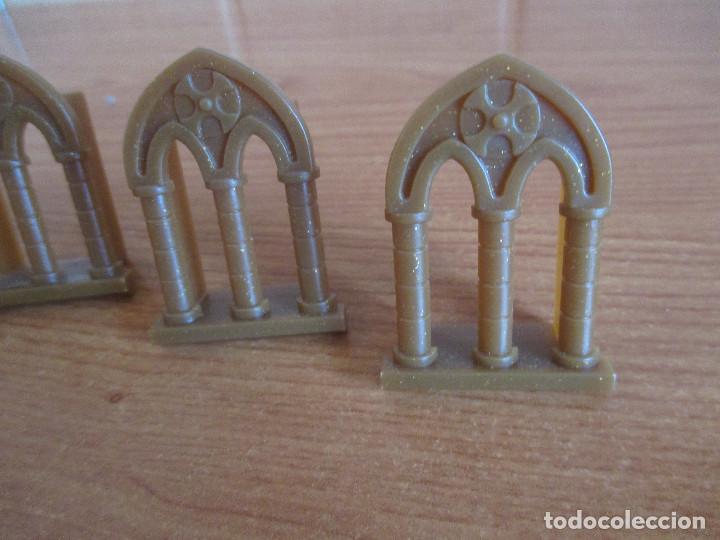 Juguetes antiguos Exin: EXIN CASTILLOS PDJ: LOTE 4 VENTANAS MARRONES DE ESTILO GOTICO - Foto 2 - 288657013