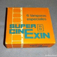 Juguetes antiguos Exin: ANTIGUA CAJA A ESTRENAR DE 6 LAMPARAS BOMBILLAS ESPECIALES CINE EXIN SUPER 8. Lote 269276818