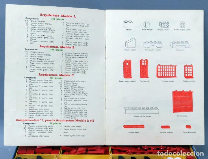 Juguetes antiguos Exin: Arquitectura Exin caja con catálogo modelos instrucciones años 50 - 60 dibujo Sabatés buen estado - Foto 6 - 269415183