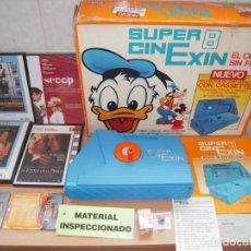 Juguetes antiguos Exin: SUPER CINEXIN,EL CINE SIN FIN PROYECTOR COMPLETO 1983 FUNCIONANDO + REGALOS!. Lote 270223863