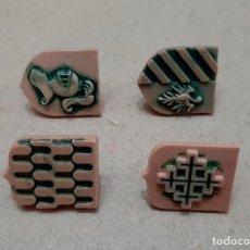 Brinquedos antigos Exin: LOTE ELB: 4 ESCUDOS ORIGINALES DIFERENTES DE EXIN LINES BROS, PIEZAS CLÁSICAS DE EXIN CASTILLOS.. Lote 295720658
