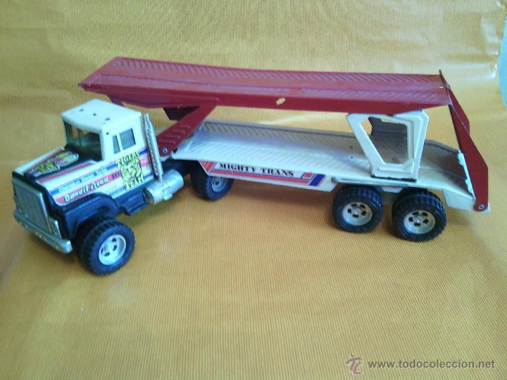 Juguetes antiguos Gozán: Camión trailer portacoches metálico de Gozan - Foto 2 - 46390479