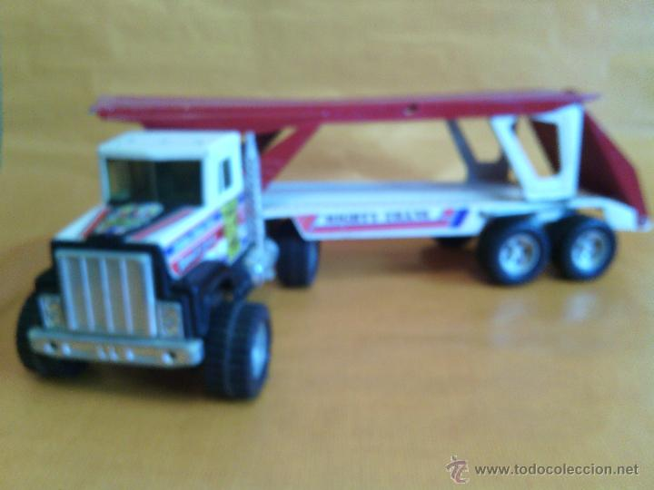 Juguetes antiguos Gozán: Camión trailer portacoches metálico de Gozan - Foto 3 - 46390479