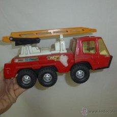 Juguetes antiguos Gozán - Antiguo camion de bomberos de hojalata, grande, de gozan. - 53807937