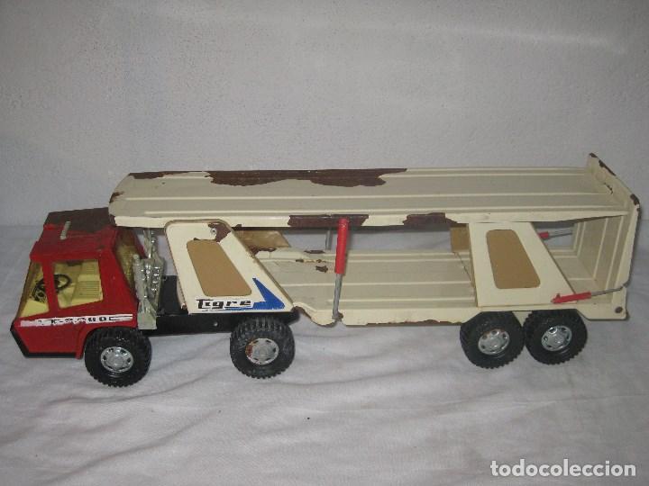 Juguetes antiguos Gozán: Antiguo Camión Coche Hojalata Juguete Años 70 Tigre 2000. España. Gozan. 56Cm - Foto 4 - 78157777