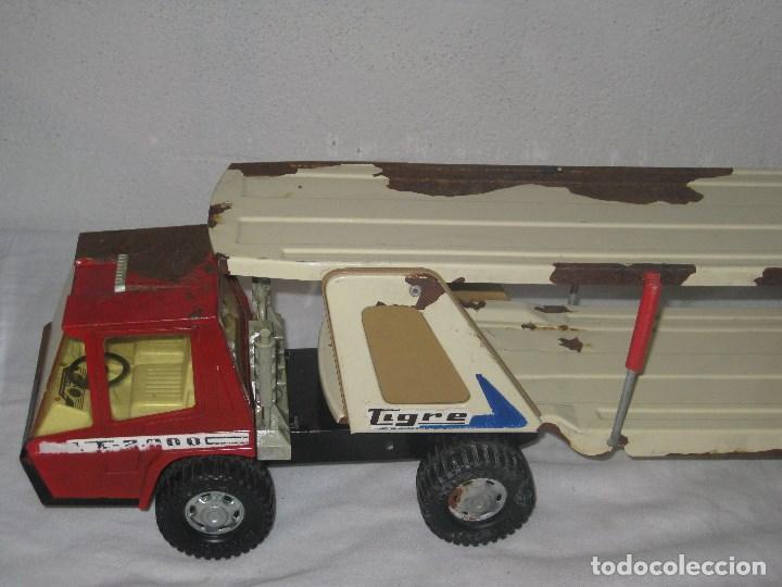 Juguetes antiguos Gozán: Antiguo Camión Coche Hojalata Juguete Años 70 Tigre 2000. España. Gozan. 56Cm - Foto 5 - 78157777