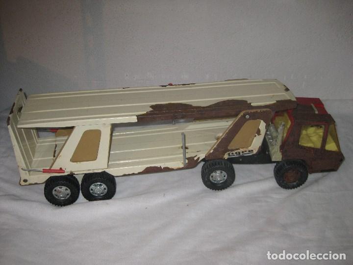 Juguetes antiguos Gozán: Antiguo Camión Coche Hojalata Juguete Años 70 Tigre 2000. España. Gozan. 56Cm - Foto 14 - 78157777
