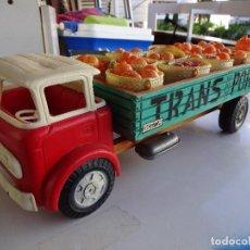 Juguetes antiguos Gozán - Camión Transporte. GOZAN.??. Caja de madera-Cabina de plástico. 47 ctms.. - 86016620