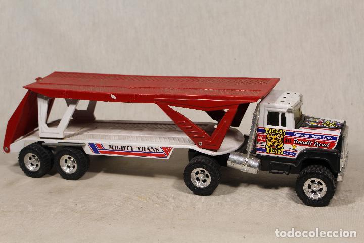 Juguetes antiguos Gozán: GOZAN - Camión chapa americano TIGERS TEAM SUPER BOSS BANDIT ROAD remolque porta coche MIGHTY TRANS - Foto 2 - 107627447