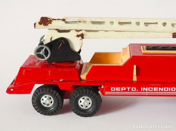 Juguetes antiguos Gozán: Lote Gozan años 70, Camión Bronco Bomberos Incendios y Trailer Portacoches - Foto 13 - 126016935