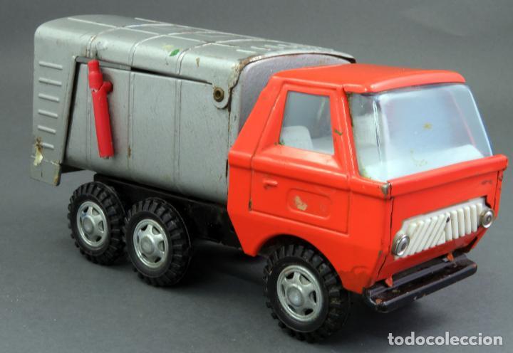 Juguetes antiguos Gozán: Gozán Coloso Camión basura metal y plástico años 80 - Foto 2 - 141660282