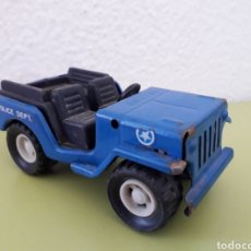 Juguetes antiguos Gozán: JEEP GOZAN MADE IN SPAIN AZUL POLICIA. Lote 181026475