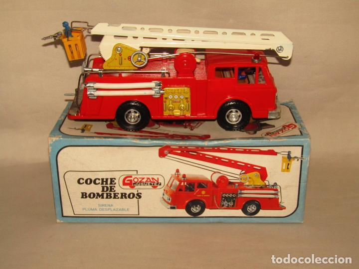 Juguetes antiguos Gozán: Antiguo Camión de Bomberos con Sirena y Pluma Dirigible de GOZAN Ibi - Foto 14 - 244213955