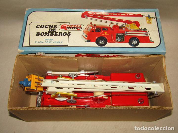 Juguetes antiguos Gozán: Antiguo Camión de Bomberos con Sirena y Pluma Dirigible de GOZAN Ibi - Foto 15 - 244213955
