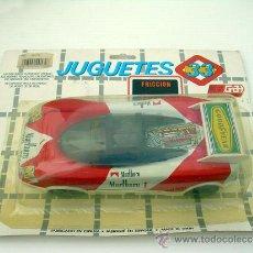 Juguetes antiguos de hojalata: COCHE DE LATA FRICCION MARLBORO JUGUETES 33 GRUPO BROTONS NUEVO AÑOS 80. Lote 37085246