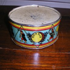 Juguetes antiguos de hojalata: ANTIGUO TAMBOR DE HOJALATA LITOGRAFIADA. Lote 44968358