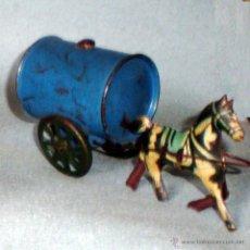 Juguetes antiguos de hojalata: ANTIGUA TARTANA CON CUBA DE RIEGO EN HOJALATA LITOGRAFIADA DE JUGUETES RICO DE IBI - AÑO 1940. Lote 47195258