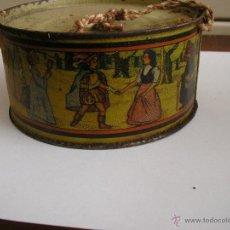Juguetes antiguos de hojalata: TAMBOR BLANCANIEVES FABRICADO POR JUGUETES GUTIERREZ DE SEVILLA. AÑOS 40 / 50. Lote 52878534