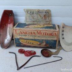 Juguetes antiguos de hojalata: ANTIGUA LANCHA MOTORA EN HOJALATA. JUGUETE A VAPOR. FABRICACIÓN ESPAÑOLA. CAJA ORIGINAL.. Lote 98355695