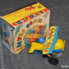 Juguetes antiguos de hojalata: ANTIGUO JUGUETE DE HOJALATA - CIRCUS PLANE - NO 2173 - YONE - MADE IN JAPAN - CUERDA - VINTAGE. Lote 108016991