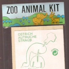 Juguetes antiguos y Juegos de colección: ZOO ANIMAL. 11 X 8 CM. MADERA TROQUELADA. OSTRICH. Lote 6086294