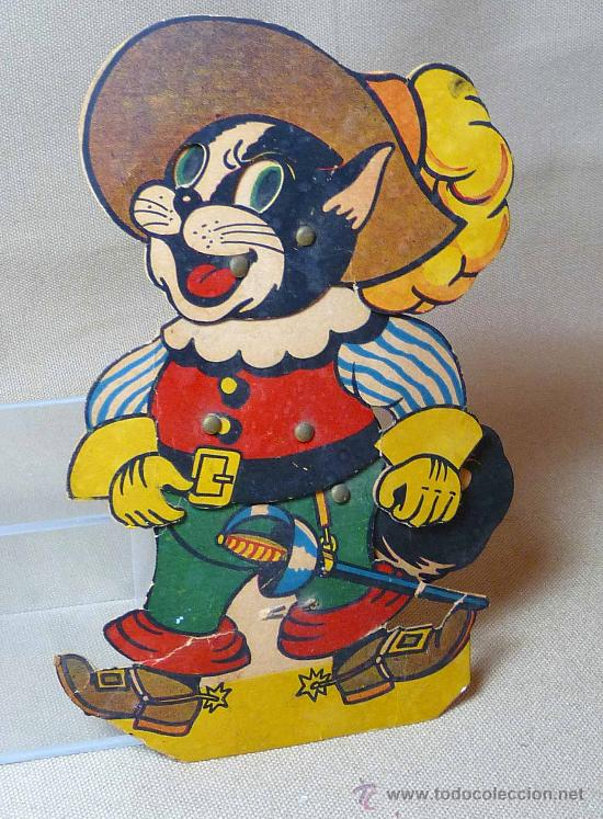 GATO CON BOTAS, PRIMITIVO JUGUETE DE CARTON TROQUELADO, CON MOVIMIENTO Y SONIDO, 1940S, ESPAÑA (Juguetes - Varios)