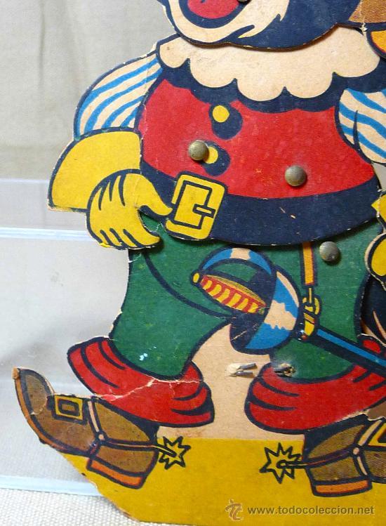 Juguetes antiguos y Juegos de colección: GATO CON BOTAS, PRIMITIVO JUGUETE DE CARTON TROQUELADO, CON MOVIMIENTO Y SONIDO, 1940s, ESPAÑA - Foto 2 - 22610352