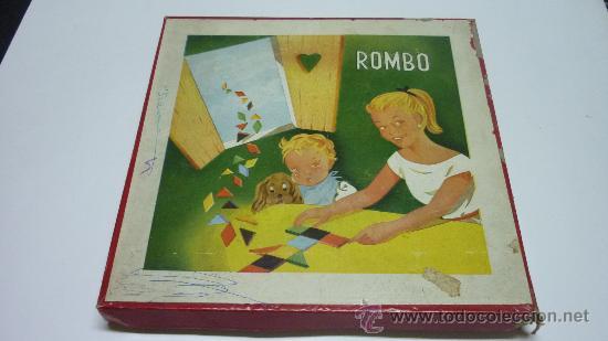 ANTIGUO JUEGO DE FIGURAS GEOMÉTRICAS ROMBO. MADERA. ORIGINAL AÑOS 1950S. MED. CAJA: 25 X 25 X 2 CTMS (Juguetes - Varios)