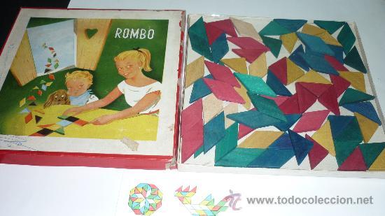 Juguetes antiguos y Juegos de colección: Antiguo juego de figuras geométricas ROMBO. Madera. Original años 1950s. Med. caja: 25 x 25 x 2 ctms - Foto 2 - 24481598