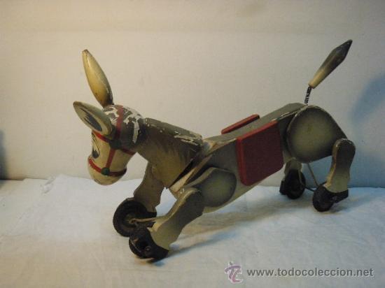 Juguetes antiguos y Juegos de colección: ARRASTRE CON BURRITO DE MADERA DE AÑOS 50 - Foto 6 - 26904197