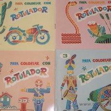 Juguetes antiguos y Juegos de colección: PARA COLOREAR CON ROTULADOR. COLECCIÓN COMPLETA. EDITORIAL ROMA. AÑO 1974.. Lote 29003366