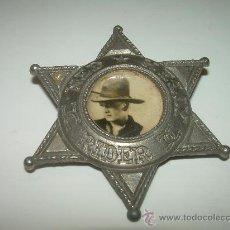 Juguetes antiguos y Juegos de colección: ESTRELLA SHERIFF NED KELLY RIDER....METALICA...AÑOS 20....ACTOR CINE MUDO.. Lote 29253295