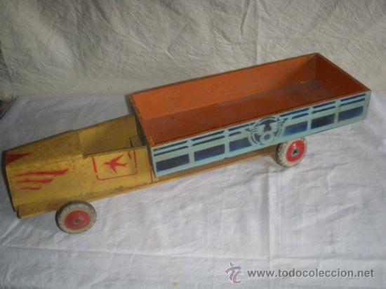 Juguetes antiguos y Juegos de colección: CAMION DE MADERA ANTIGUO 48 CM. LARGO - Foto 3 - 32028545