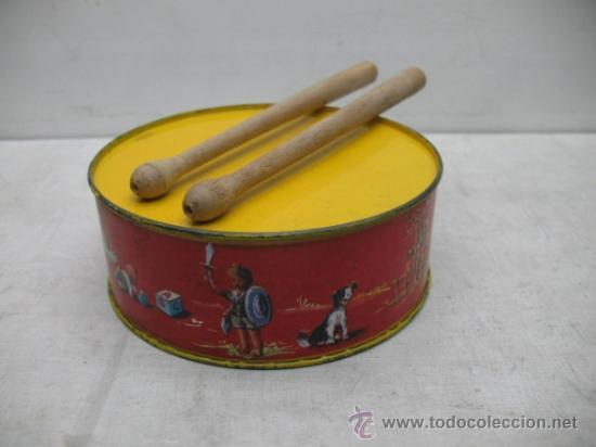 Juguete Antiguo Tambor Con Dos Baquetas Comprar En Todocoleccion