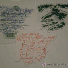 Juguetes antiguos y Juegos de colección: JUEGO DE 3 PLANTILLAS ESCOLARES DE PLÁSTICO, DEL MAPA DE ESPAÑA ( FAIBO ) . AÑOS 80 , A ESTRENAR. Lote 35579746