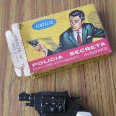 Brinquedos antigos e Jogos de coleção: REVOLVER DE JUGUETE CON CAJA REVOLVER AUTOMÁTICO .. GONZALEZ POLICIA SECRETA. Lote 35018094