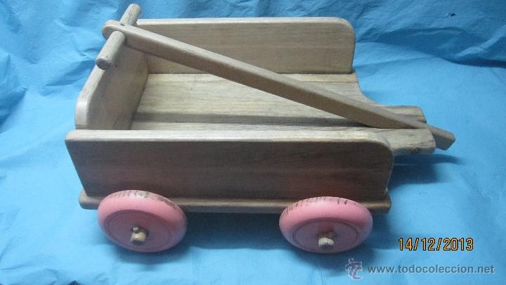 Antiguo Juguete Carro Con Ruedas De Madera Para Ninos De Arrastre O Tiro