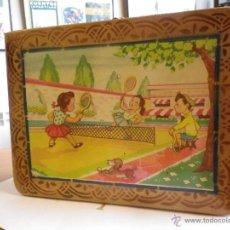 Juguetes antiguos y Juegos de colección: MALETÍN DE COLEGIO DE MADERA CON DIBUJO ORIGINAL PINTADO AÑOS 60. Lote 41395540